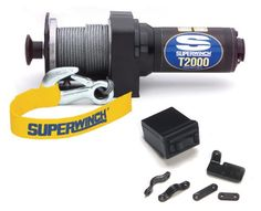 Superwinch 1220200 T2000 Performance and Economic Series Master Winch 12-Volt DC winch with a capacity to pull 2,000-lbs. Wire rope measures 50' x 5/32, includes latched hook. Rotary-style remote mounted switch; wireless remote control optional. Dimensions measure 12.5l. x 3.9d. x 4.1h; 14-lbs. Remote or Handlebar mountable Rocker Switch.  #Superwinch #Automotive_Parts_and_Accessories