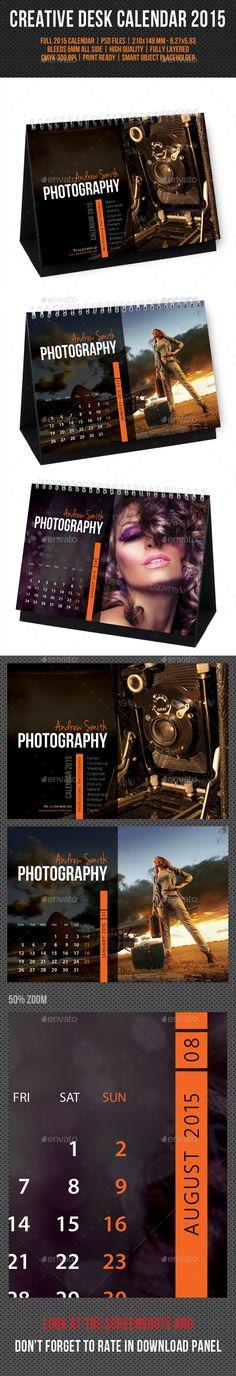 Creative Desk Calendar 2015 Template   Buy and Download: http://graphicriver.net/item/creative-desk-calendar-2015-v10/9846401?ref=ksioks