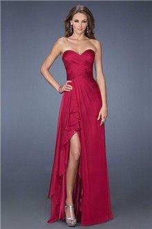 A-Line/Princess Strapless  Sweetheart Chiffon Floor-length Prom Dress