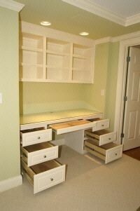 For basement bedroom. Closet transformation - Custom Shelving and Built-in Desks;  what a great idea!