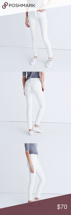 """Madewell highriser skinny jeans Lean and sexy with a 9"""" rise (right in '70s rock-muse territory), this one's legs-for-days look and supersleek effect come from using some of the best denim in the world.   Premium 91% cotton/7% poly/2% elastane denim from the Cone mill. Specially woven to counteract the whole show-through factor. Matte silver button, tonal stitching. Sit above hip, fitted through hip and thigh, with a slim leg. Front rise: 9 1/4""""; inseam: 28 1/2""""; leg opening for size 25…"""