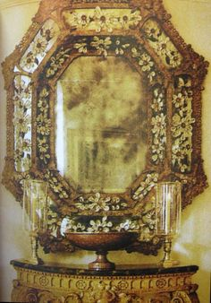 """17th century mirror encrusted with rock-crystal fleurons…"""