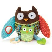 Hug & Hide Owl Activity Toy    Full of hidden surprises! Owl's wings open to reveal a baby owl, mirror and more. Over 10 developmental activities will keep baby entertained for hours of playtime and learning fun.
