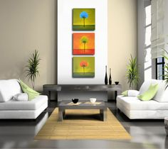 Triptych wall art abstract landscape 36x12 blue red by ZarasShop