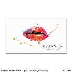 Elegant White Colorful Lips Makeup Artist Business Card