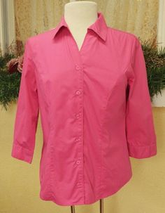 Christopher & Banks S Fitted Blouse Pink 3/4 sleeve Button Front No Spandex #ChristopherBanks #ClassicBlouseShirt #WeartoWorkCasualDressy
