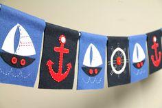 Nautical felt party banner or room decoration (sailboats). Nautical Banner, Nautical Party, Nautical Nursery, Home Design Diy, Felt Diy, Felt Crafts, Style Marin, Boys Room Design, Baby Boy Rooms