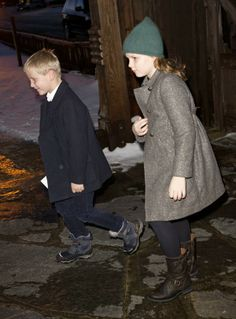 24 DECEMBER 2013 - Norwegian Royal Family at Christmas service Crown Prince Haakon and Crown Princess Mette Marit attended Christmas service at Uvdal Church with their children.