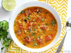 Red Lentil Stew Fire roasted tomatoes, flavorful spices, and fresh lime and cilantro to finish. This Mexican Red Lentil Stew is anything but ordinary! Fire roasted tomatoes, flavorful spices, and fresh lime and cilantro to finish. This Mexican Red Lentil Mexican Food Recipes, Whole Food Recipes, Vegan Recipes, Cooking Recipes, Dinner Recipes, Red Lentil Recipes, Vegetarian Recipes Red Lentils, Healthy Stew Recipes, Salad Recipes