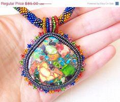 #pendant #jewelry #etsy CIJ SALE Beadwork Bead Embroidery Pendant Necklace with by lutita, $72.25