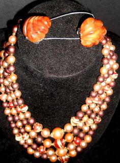 Vintage Caramel Torte 4 strand Plastic Lucite beaded necklace Lucite Givre clip