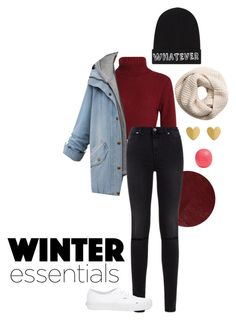 """winter essentials"" by anna-mae-equils on Polyvore featuring Burberry, 7 For All Mankind, Vans, Local Heroes, H&M, Eos, Winter, winteressentials and winter2015"
