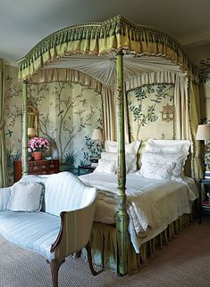 Jete de Fleurs taupe bed linens are shown on an century style canopy bed in a master bedroom designed by interior design firm McMillen Inc. Bedding Master Bedroom, Bedroom Green, Master Bedroom Design, Dream Bedroom, Bedroom Decor, Green Bedrooms, Bedroom Ideas, Bedroom Inspiration, Neutral Bedrooms