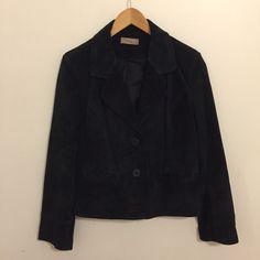 i.e. black suede 100% leather jacket blazer coat lined Size Large Gently Worn #ie #BasicCoat