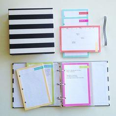 cute striped binder + organization system (by Whitney English etsy)