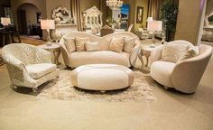 AICO Furniture - Studio Camelia 4 Piece Living Room Set in Bright Gold - ST-CMLIA15-ORO-806-4SET