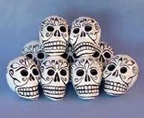 Black and White papier mache skulls