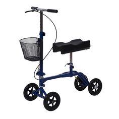 New Steerable Foldable Knee Walker Scooter Turning Brake Basket Drive - Blue #HOMCOM