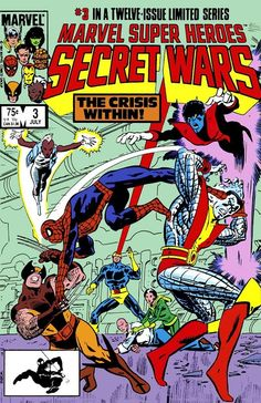 Marvel Super-Heroes Secret Wars (Jul cover by Mike Zeck & John Beatty. Magneto was a villain. The X-Men wanted to defect from the hero team to show mutant solidarity. Spidey heard, and they tried to stop him. He clowned the whole team. Marvel Comics, Arte Dc Comics, Marvel Comic Books, Comic Book Heroes, Marvel Heroes, Comic Books Art, Comic Art, Marvel Dc, Book Cover Art