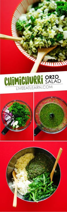 This healthy Chimichurri Orzo Salad is tossed in a simple herby dressing, loaded with veggies, and sprinkled with feta cheese (and all in under 15 minutes!) It's a healthy vegetarian side dish idea for dinner tonight. Vegetarian Pasta Recipes, Vegetarian Side Dishes, Veggie Recipes, Salad Recipes, Healthy Recipes, Veggie Meals, Veggie Food, Dinner Recipes, Chimichurri