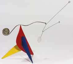 ALEXANDER CALDER 1898 - 1976 TRES PUNTOS BLANCOS SOBRE ROJO, AMARILLO Y AZUL  sheet metal, brass, wire and paint. 22.9 by 33 by 14cm. Executed in 1955.