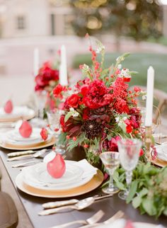 Crimson and Gold Wedding Centerpiece | photography by http://www.greergphotography.com | floral design by http://www.beesweddingdesigns.com/