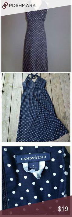 NWOT Lands End halter dress Navy/White polka dot, halter neck, cotton/elastane, new without tags, never worn, size 16 Lands' End Dresses Maxi