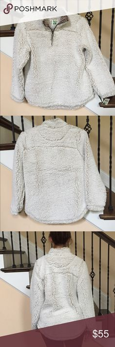 Sherpa Pullover like true grit style (Green Tea) These have been highly rated. Brand is Green Tea, similar to styles like true grit and others selling close to $150. 100% polyester. Color is ivory. Very Soft, warm & cozy. I'm modeling a size M and typically wear a S 4-6. I think these should be ordered a size up. Others listed are sized differently so please see sizing chart. Interior differs, looks like lint due to manufacturing process (see pic). I am a top rated seller and ship in 24…