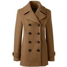Lands' End Women's Petite Insulated Wool Peacoat ($199) ❤ liked on Polyvore featuring outerwear, coats, brown, wool peacoat, pea jacket, lands' end, insulated coat and petite pea coat