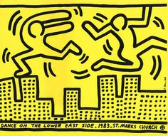From Lot Keith Haring, Keith Haring Dance on the Lower East Side, St. Marks Church Offset print, 3 × 10 in Keith Haring Prints, Keith Haring Art, Graffiti Drawing, Art Drawings, Modern Art Artists, Peter Paul Rubens, Principles Of Art, Lower East Side, Albrecht Durer