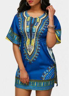 Blue Round Neck Short Sleeve Dashiki Print Mini Dress