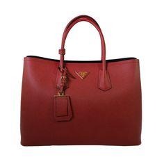 Prada Women's Saffiano Cuir Tote Bag BN2761 F068Z Fuoco (Red): Handbags: Amazon.com