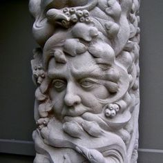 'Sandstone Greenman (Carved Garden Yard statue)' by Thomas J. Yard Sculptures, Sculpture Art, Garden Sculpture, Stone Carving, Wood Carving, Architectural Sculpture, Fine Arts Degree, London Art, Stone Work