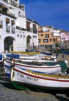 Fishing boats on the beach of Calella de Palafrugell - Costa Brava, Catalonia.