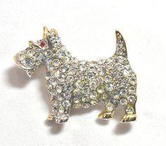 Vintage Scottie Dog Pin Rhinestones by RoseCottageVintage on Etsy