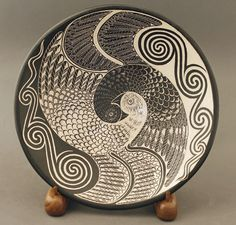 Yinyang Bird Plate by          ;Richard Zane Smith - Blue Rain Gallery / Santa Fe New Mexico
