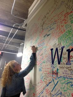 The Facebook Wall, at the company's NYC office. We were there to report on Madonna's embrace of social media.