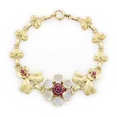 Tiffany & Co. Retro Ruby and Moonstone Floral Bracelet