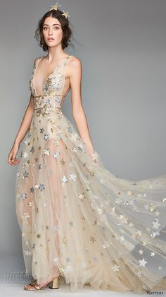 willow by watters spring 2018 sleeveless deep v neck full embellishment romantic gold soft a line wedding dress low v back sweep train (5) mv -- Willowby by Watters Spring 2018 Wedding Dresses