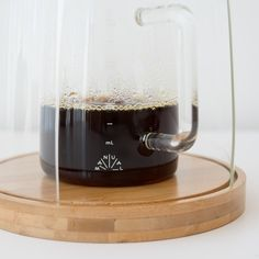 In lieu of using a kitchen scale while brewing,MCM uses a carafe with mL measurements to accurately gauge volume of brewed coffee.
