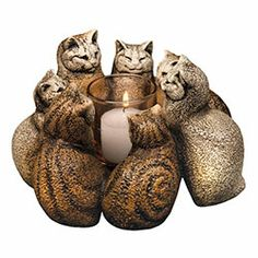 Circle of Cats Candle Holder