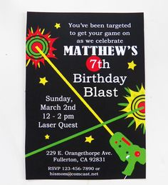 Laser Tag Birthday Invitation Printable and Printed with FREE SHIPPING - Laser Tag Collection
