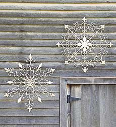 Iron snowflakes offer an old-time Christmas feel indoors and out. Great all winter!