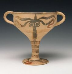 Mycenaean  Terracotta Octopus Goblet, 13th century BC  The Mycenaeans, like the Minoans, painted a wide range of sea creatures on their pottery, especially octopuses. Over time, Mycenaean artists produced ever simpler and more abstract depictions of octopuses.
