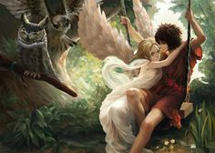 anime boy and anime girl with wings with owls