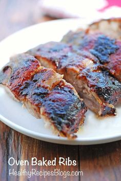 Oven baked ribs are slowly roasted in the oven until the meat is tender, juicy and falls off the bones and the sauce is nicely caramelized.