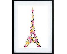 Parijs verticale mini print | Aquarel | poster | Melkenie | bloemen | kunst aan de muur | A4