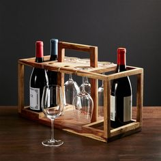 Wine Bottle and Glass Caddy - Crate and Barrel