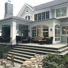・・・ One of the things I love most about this house is the multiple seating areas. You have second-floor terraces, a main floor wraparound patio as well as three additional tiers of entertaining.
