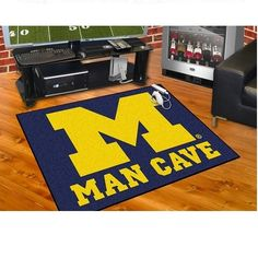 "Michigan Wolverines Man Cave All Star Area Rug Floor Mat 34"" X 45"""
